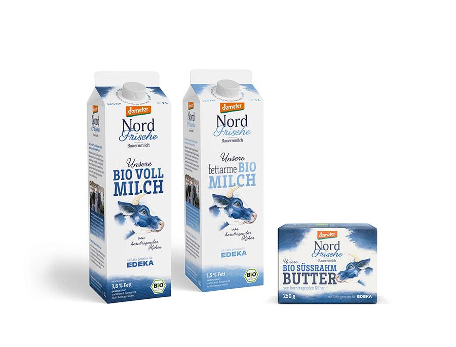 Nordfrische Bauernmilch vollfett und fettarm und Süssrahmbutter